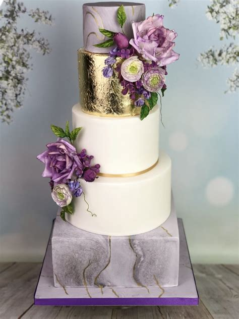 Wedding Cake - Marble Effect with Sugar Flowers - Mel's