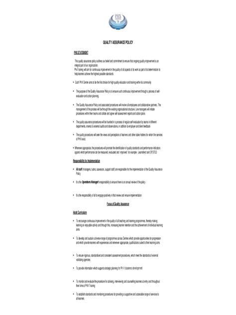 Quality Assurance Policy Template - 2 Free Templates in
