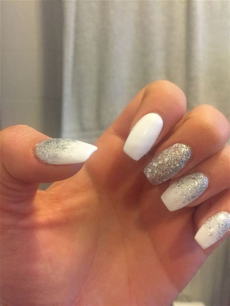 3/6/16 white and silver coffin shape nails   nails