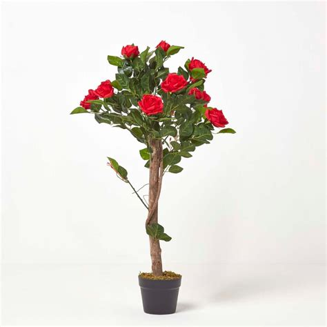 Red Potted Rose Tree Artificial Plant with lifelike green