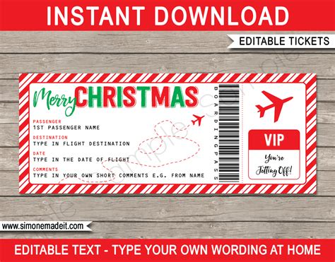 Christmas Gift Boarding Pass Ticket Template | Surprise