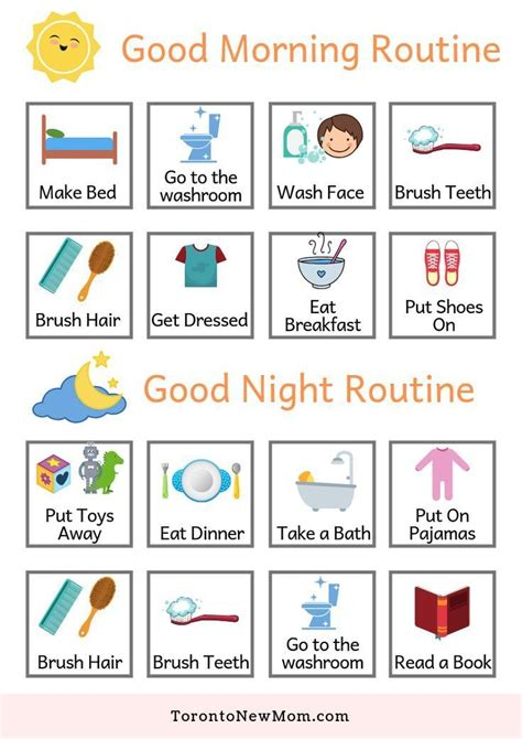 Morning and Evening Routines Chart for Free Download in