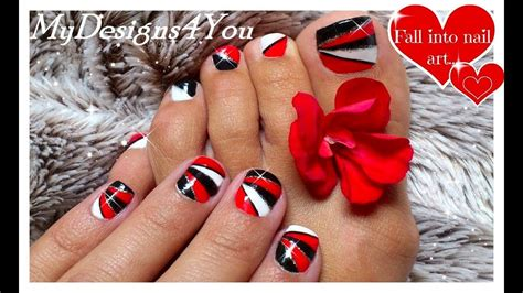 Geometric Nail Art For Short Nails   Red Nails   Black and