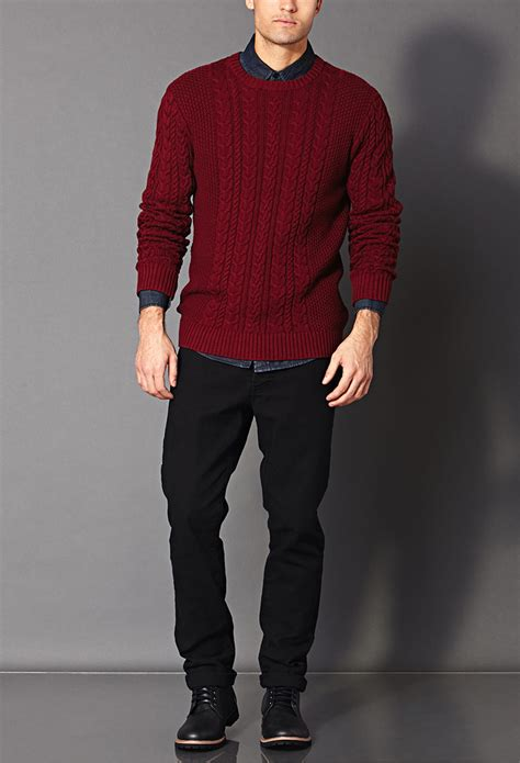 Lyst - Forever 21 Chunky Cable Knit Sweater in Red for Men