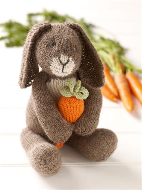 Bunny With Carrot · Extract from Knitted Rabbits by Val