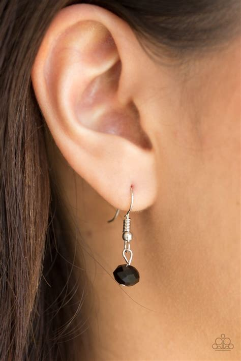 """Paparazzi """"On The Front SHINE"""" Black Crystal Bead Silver"""