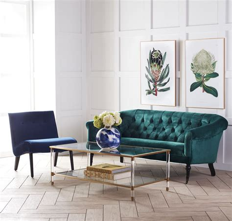 Acrylic, Glass And Brass Coffee Table | Wisteria | Green