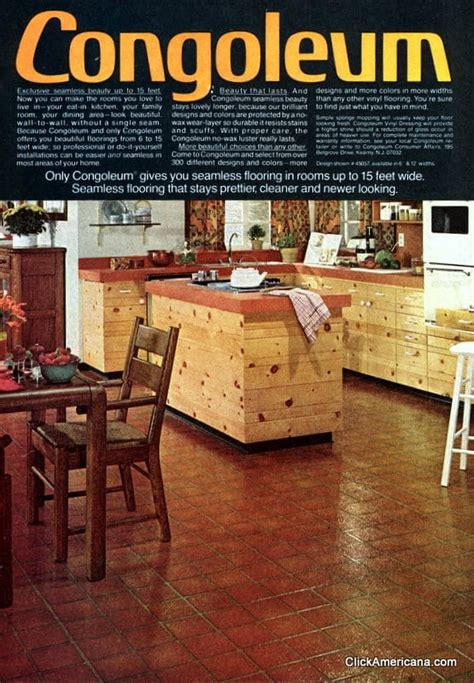 A variety of vinyl kitchen floors from the 1970s - Click