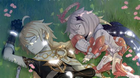 Aether Genshin Impact Paimon Are Sleeping On Grass HD