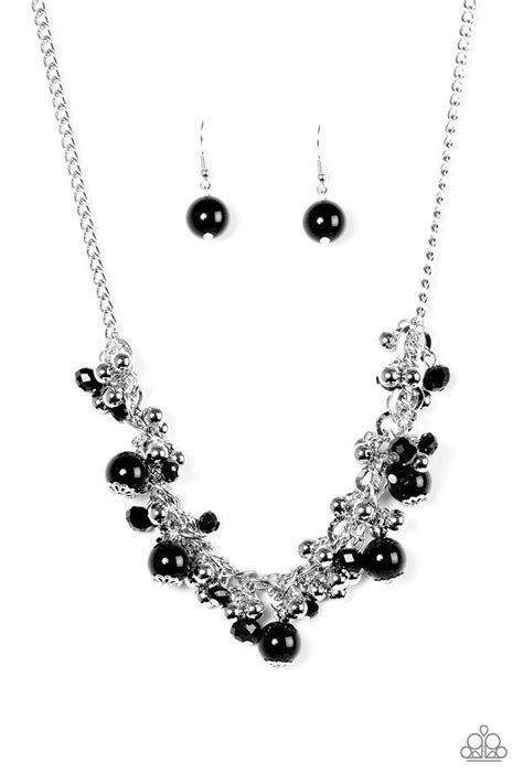 """Paparazzi """"A Pop of Posh"""" Black and Silver Bead Necklace"""