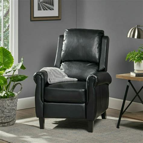 Traditional Black Leather Recliner Club Chair | eBay
