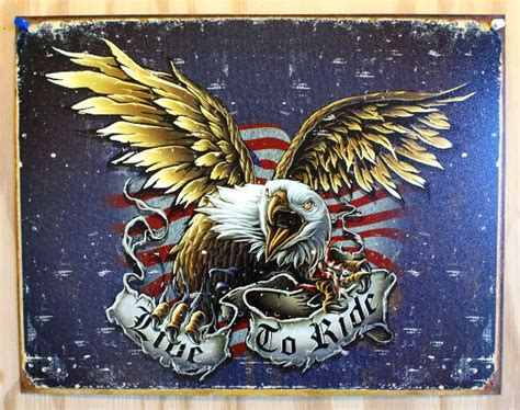 Live To Ride Tin Sign Sturgis Motorcyle Eagle HD Garage