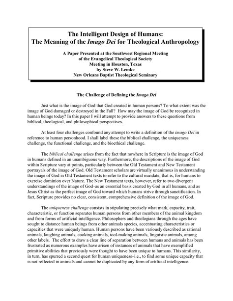(PDF) The Intelligent Design of Humans: The Meaning of the