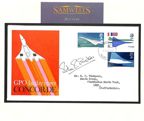 GB CONCORDE FDC Autograph *Peter Baker* Pilot Signed Typed